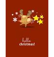Reindeer on christmas card vector image vector image