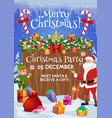 santa and elf with christmas gift xmas party card vector image vector image