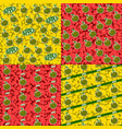 seamless patterns with fruits 4 elements set vector image