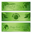 set green banners for earth day april 22 vector image