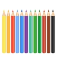 Set of twelve colored pencils on white background vector image
