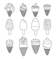 Set of twelve delicious ice-creams and popsicles vector image vector image