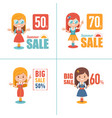 shopping with girls big summer sale vector image vector image