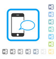 smartphone message balloon framed icon vector image vector image