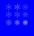 snowflake winter set of white isolated nine icon vector image