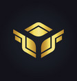 square wing design gold logo vector image vector image
