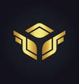 square wing design gold logo vector image