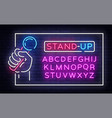 stand up neon signboard in frame vector image vector image