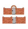 steel gate with brick fence vector image vector image