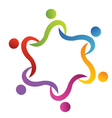 Teamwork swoosh helping logo vector image vector image