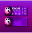 ticket tear-off coupon on bowling match vector image vector image