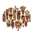 tribal mask ethnic set sketch for your design vector image vector image