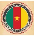 Vintage label cards of Cameroon flag vector image