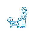 walking with a dog linear icon concept walking vector image