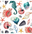 watercolor sea life pattern vector image vector image