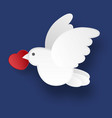 white dove on a blue background in the style of vector image