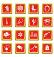 wild west icons set red square vector image vector image