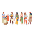 women buyers stand in queue at cash desk shopping vector image vector image