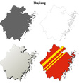 Zhejiang blank outline map set vector image vector image