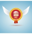 Badge Special offer with white wings vector image