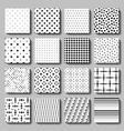 Unusual black white polka dot pattern set vector image