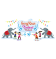Songkran Festival Kids Play Water with Elephant vector image