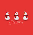 3d snowman set cartoon christmas character vector image