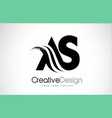 as a s creative brush black letters design with vector image