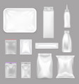 blank food packaging realistic set vector image vector image