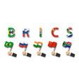 brics association 5 countries vector image vector image