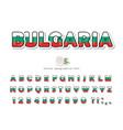 bulgaria cartoon font bulgarian national flag vector image vector image