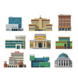 different city public buildings houses set flat vector image vector image