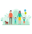 family mother and father children and pet dog vector image vector image