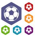 football soccer ball icons set hexagon vector image vector image