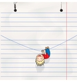 fun boy hanging on rope child notebook page vector image