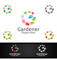 global gardener logo with green garden vector image vector image