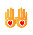 Hands and hearts logo vector image