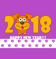 happy new year the year 2018 is a yellow earth vector image