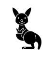 kangaroo cute icon black vector image vector image