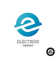 Letter E logoIndustrial tech style in a blue round vector image