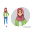 muslim women character is happy and smiling vector image vector image