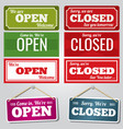 open and closed store signs vector image vector image