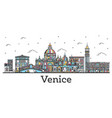 outline venice italy city skyline with color vector image