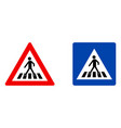 pedestrian crossing symbol warning red triangle vector image
