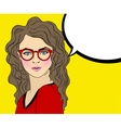 Pop Art Woman with red Glasses and speech bubble vector image vector image