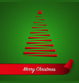 red abstract christmas tree on green background vector image vector image