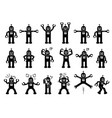 robot cartoon characters in various poses actions vector image