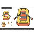 rubber boat line icon vector image vector image