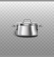 shiny realistic metal pot isolated on transparent vector image vector image