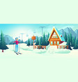 skiing in mountain winter resort cartoon vector image
